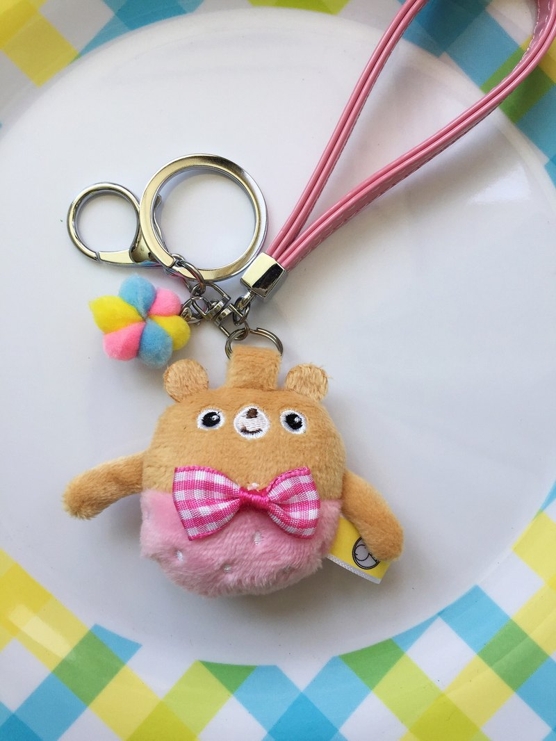 Pink Berry Bear Key Ring Strap