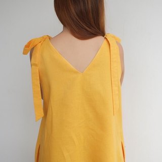 Foak Tie Top Dress in Mustard