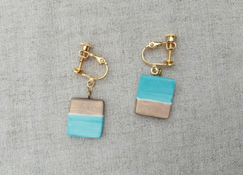 Caribbean Blue Gold Pottery Earrings