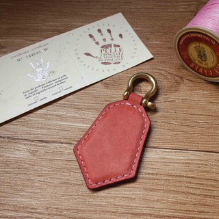 Pueblo matte leather leisure card chip pendant - key ring section - pink