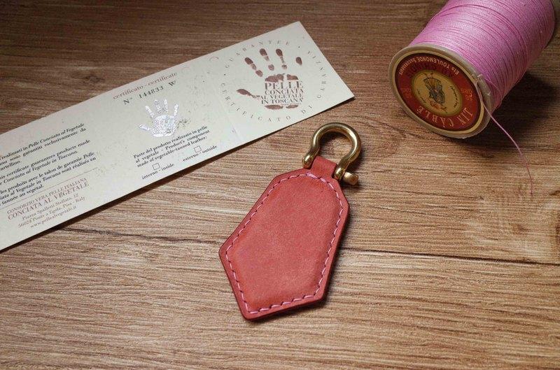 pueblo磨砂皮 悠遊卡晶片吊飾-鑰匙圈款-粉紅色