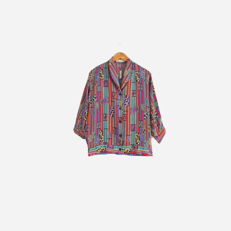 Dislocation vintage / geometric color line shirt no.505
