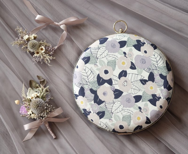 [Wedding sister group set] pink purple floral round bag, dry hand flower, silk flower