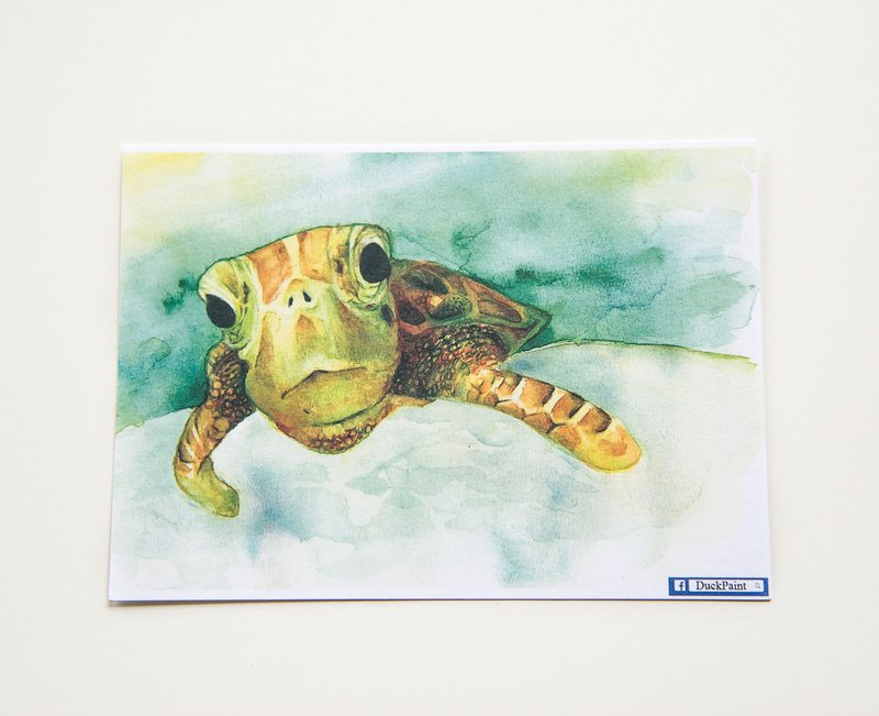 Postcard Turtle swim turtles swim. Color pencil watercolor illustration tortoise postcard