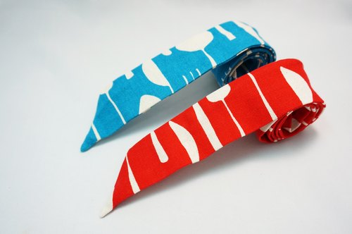 Soft hair ribbon - cutlery illustration (red. Blue two)