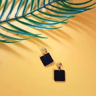 Small black square ear pin / ear clip handmade earrings