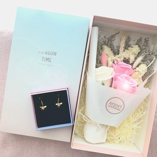 Sincerity Gift [Flower Flower Gift Set] Little Bee Earrings + Rose Soap Bouquet Not Mini