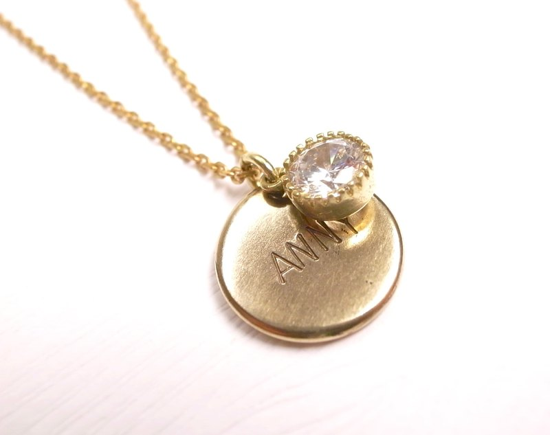 """Ermao Silver"" brass custom typing along small round zircon necklace +"