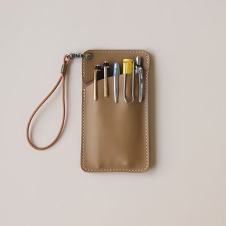 Leather doctor robe pencil bag │ pocket pencil case │ yellow