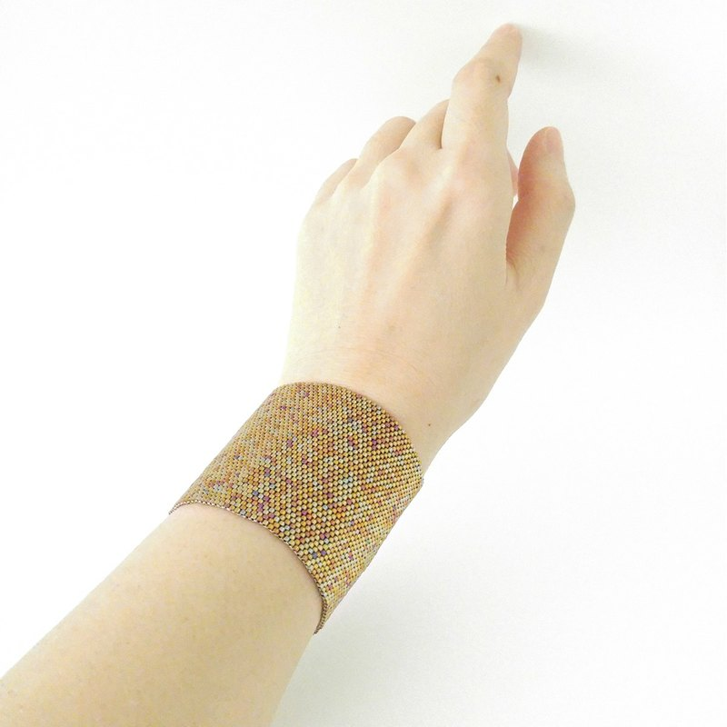Thick Gold Cuff, Beaded Cuff, Gold Bracelet, Wonder Woman Cuffs, Thick Cuff, Thick Bracelet