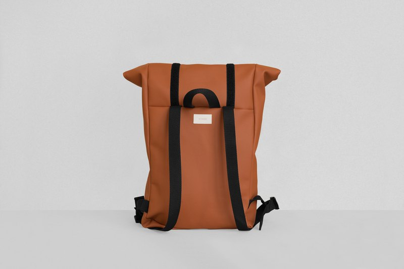 Roll–top backpack in ochre