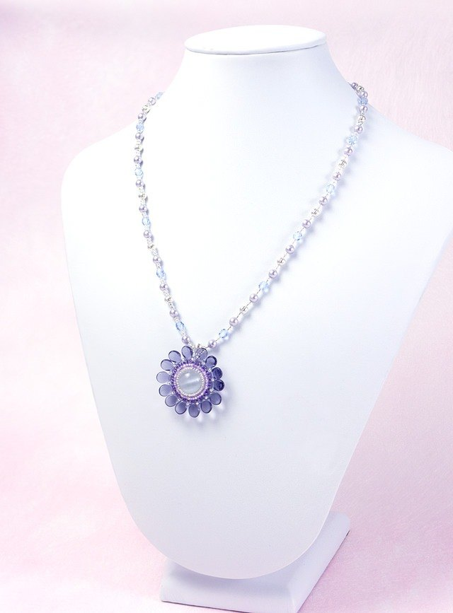 Purple Flower Swarovski Pearl Necklace, wedding jewelry, cute, elegant, 388-1