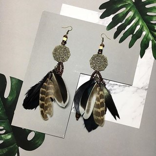 earrings: boho feather