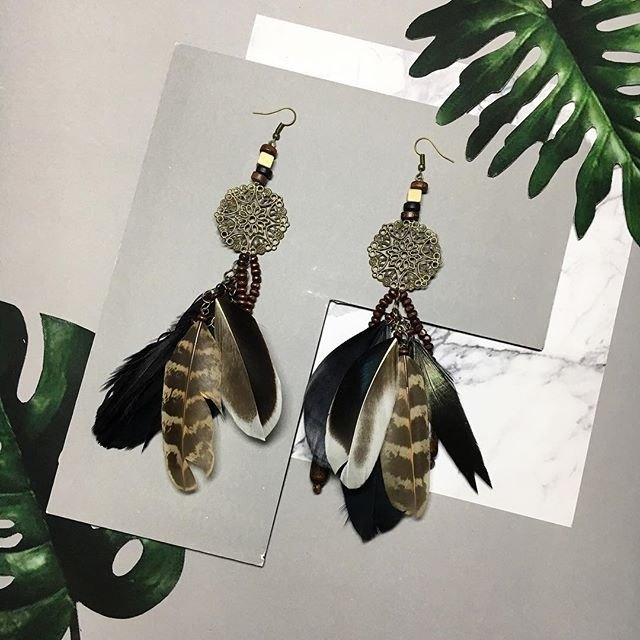 earrings : boho feather
