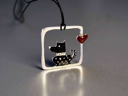 [925] silver enamel love pendant necklace pendant dog spot cotton rope cotton rope square box with creative design best friend birthday gift N189 | Greek original handmade jewelry This and That
