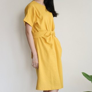 Lyme yellow linen knee before Bandage Dress