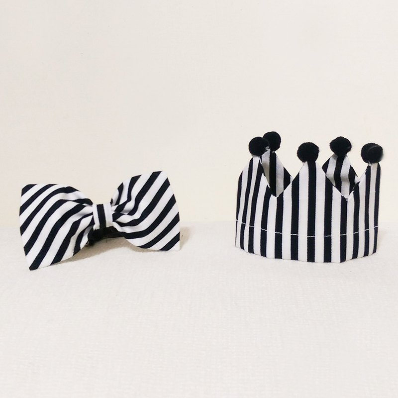 Ella Wang Design Crown Crown cap + Bowtie bow tie black and white striped cats birthday kit