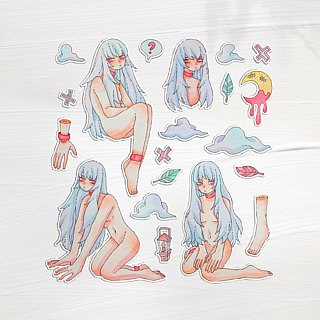 Naked teenage girl hand painted watercolor sticker 20 into