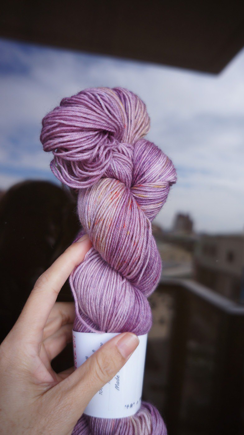 Hand dyed line. Lavender light fragrance (super wash Merino + nylon)