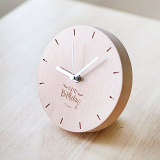Handmade wood table clock simple good time dark wood color
