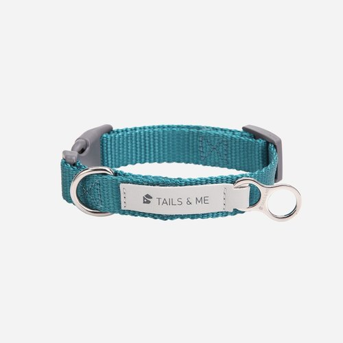 [Tail and me] Classic nylon belt collar water blue M