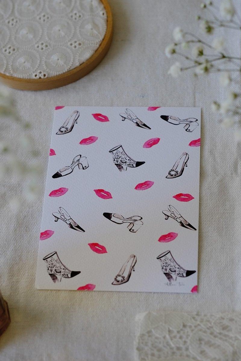 時尚插畫-親吻我的愛鞋明信片