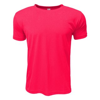 3D straight striped moisture wicking round neck T :: Fluorescent peach:: men and women can wear