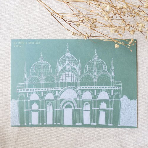 Travel scenery - Italy - Venice Church of St. Mark / illustration postcard