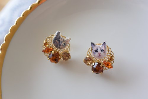 Tortoiseshell earrings part 2, big cat earrings 14 kgf post