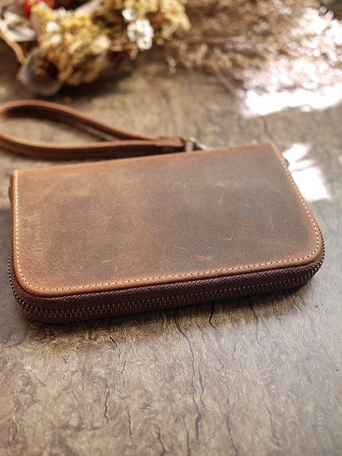 Oil wax color leather. Classic folder / passport holder / wallet / wallet / purse