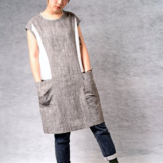 Grey mosaic large pocket dress