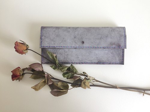 Wiping Wax Purple Wonderful Clip _ Leather Hand Sewing Handcraft Wallet