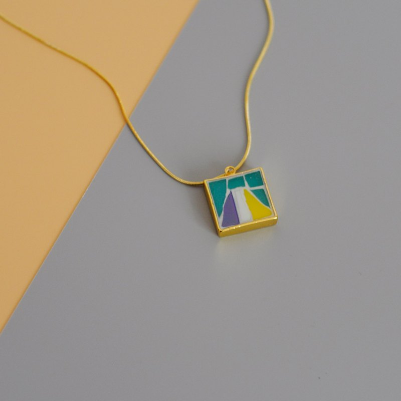 Triangle hand-inlaid mosaic gold-plated necklace 925 sterling silver gold-plated mountain contrast color geometric long chain