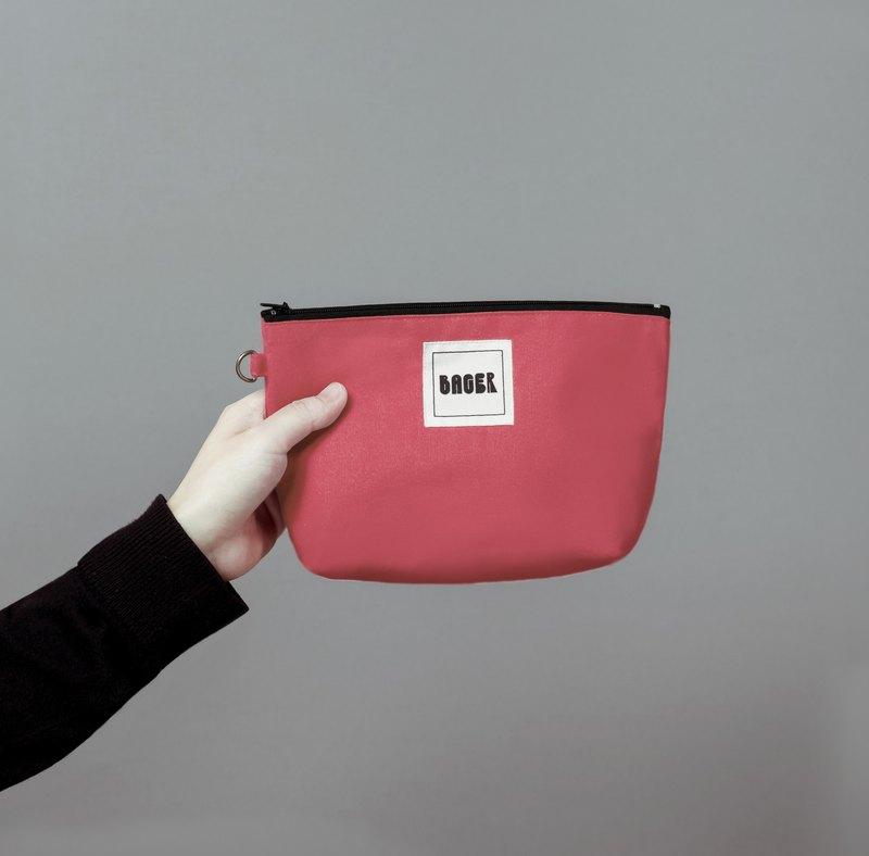 Bager Simple Plain Zipper Multi-Purpose Bag / Coral Powder