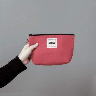 Bager Simple Plain Zipper Universal Bag / Coral Pink