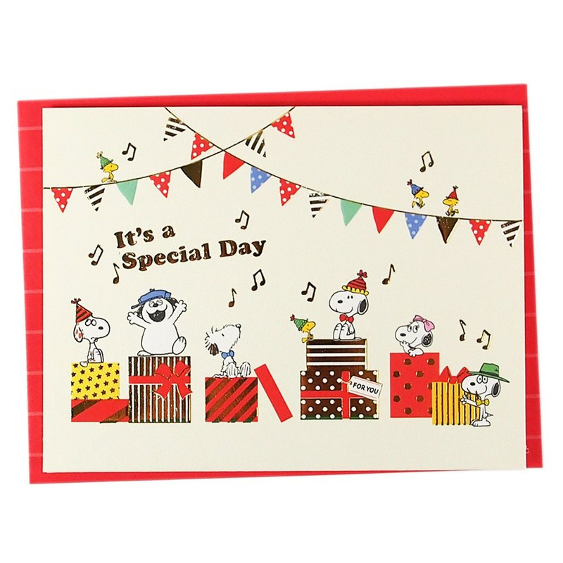 Snoopy's Family Picks a Birthday Gift (Hallmark-Peanuts - Stereo Card)