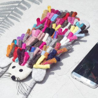 Handmade limited edition natural wool felt mobile phone bag / Wool felt mobile phone sets / iphone mobile phone sets / android mobile phone sets / animal mobile phone sets / iphone mobile phone shell-Rainbow Hedgehog elegance