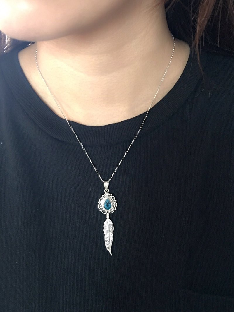 London Blue Topaz blue topaz necklace, Nepal handmade inlaid feather lace