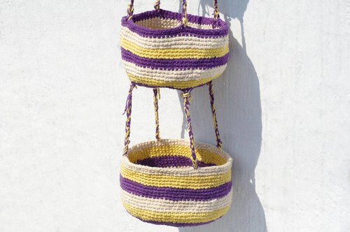 Christmas gifts handmade limited edition hand-woven storage basket / Storage Basket / Hanging Bag - Striped Bird's Nest