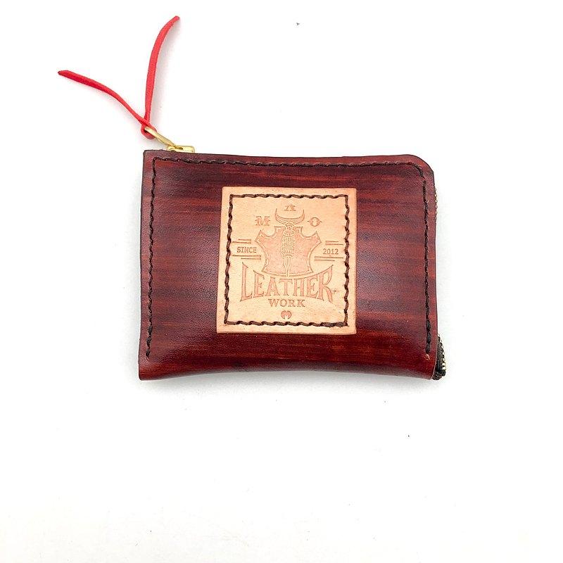 【零錢包】手工刷木紋零錢包/ 義大利植鞣革/ 絨面羊皮/