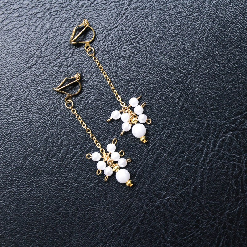 [Da Da Daily] Graceful gold pearl long earrings