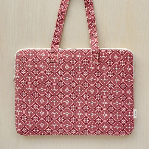 15 inch laptop storage bag / glass Begonia / brick red