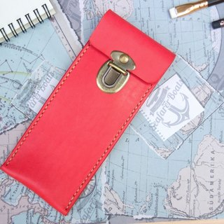 Leather Pencil Pen Fountain Pen Pencil Leather Pencil Box Wine Red Free Lettering
