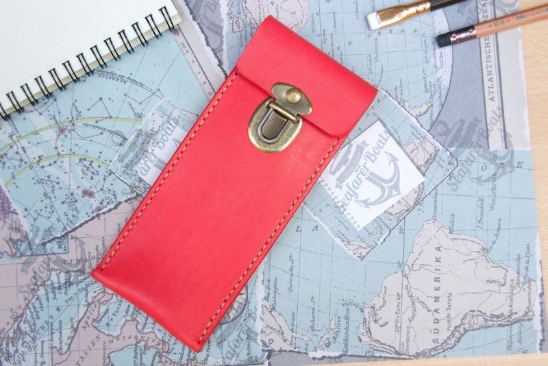 Leather pencil case pen pen pen bag leather pencil case wine red free lettering