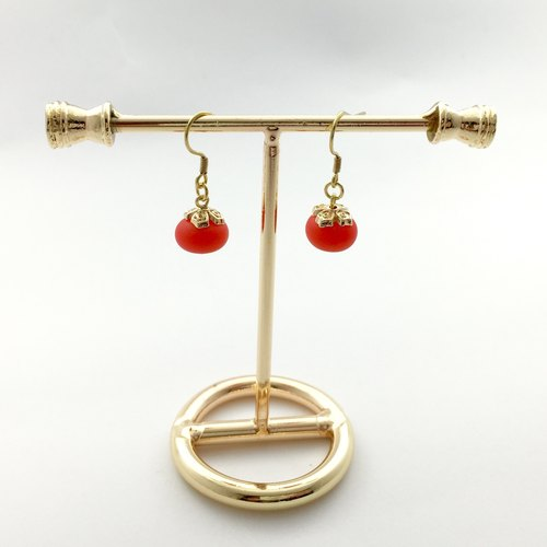 If [Mulberry] | fruit | persimmon red. Hand healing glass beads. Gold-plated brass ear hook / earrings / earrings