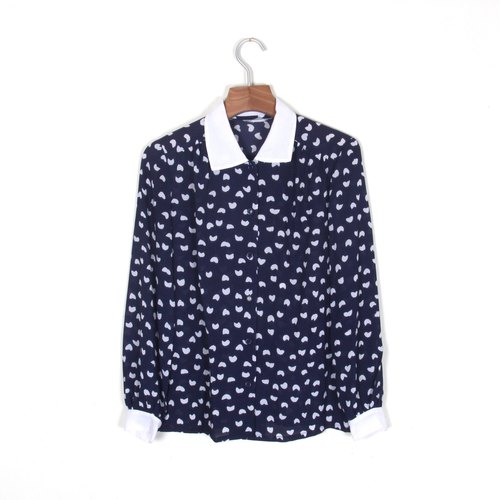 Egg plant vintage] heart-shaped snow white collar printing vintage shirt