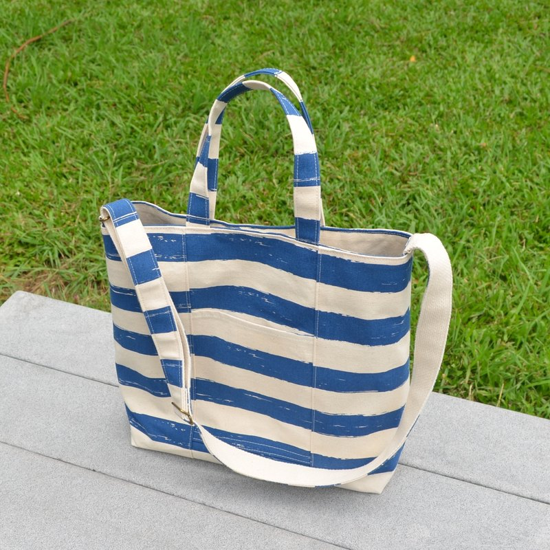 Dark blue stripes tote bag/shoulder bag/cross-body bag/handbag handmade simple canvas