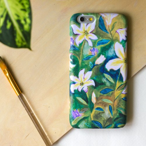 Rabbit and Lilies Painted with oil paints.  Matte Case (iPhone, HTC, Samsung, Sony)