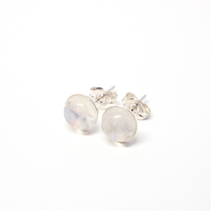 Rainbow Moonstone Gemstone Earrings, 925 Sterling Silver, 6mm Round