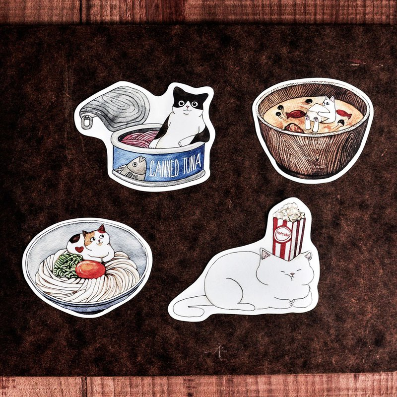 Cat Food Sticker / Ramen / Fish Can / Popcorn / Miso Soup - Sticker